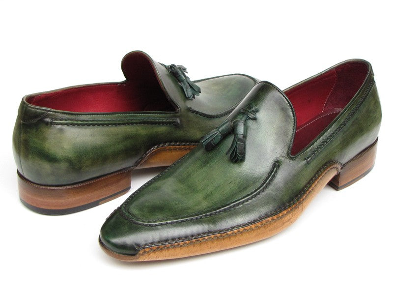 Paul Parkman Men's Side Handsewn Tassel Loafer Green Shoes (ID#082-GREEN) - mroutfit