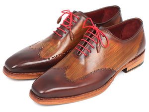Paul Parkman Men's Wingtip Oxford Goodyear Welted Brown & Camel (ID#81BRW74) - mroutfit