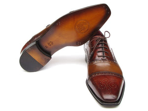 Paul Parkman Men's Captoe Oxfords - Camel / Red   (ID#024-CML-BRD) - mroutfit