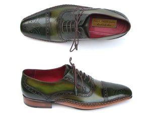 Paul Parkman Men's Side Handsewn Captoe Oxfords Green (ID#5032-GREEN) - mroutfit