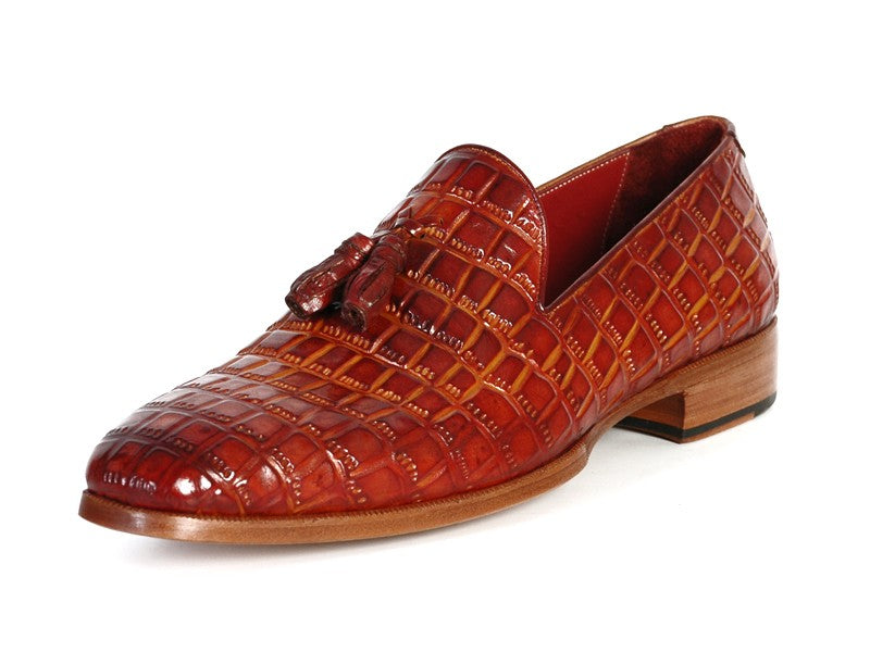 Paul Parkman Men's Reddish Camel Crocodile Embossed Calfskin Tassel Loafer (ID#0823-RDSH) - mroutfit