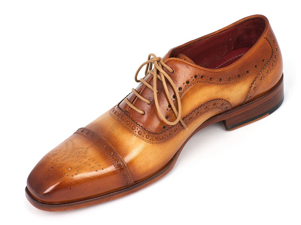 Paul Parkman Men's Captoe Oxfords Tan Color (ID#024-TAN) - mroutfit