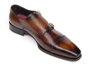 Paul Parkman Men's Brown Crocodile Embossed Calfskin Double Monkstrap (ID#045-APR-BRW) - mroutfit