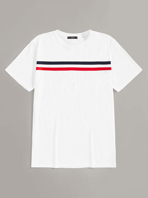 Men Short Sleeve Striped Tee - mroutfit