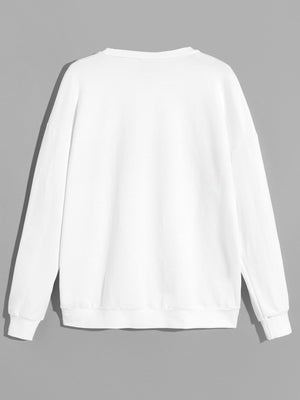 Drop Shoulder Letter Detail Pullover - mroutfit