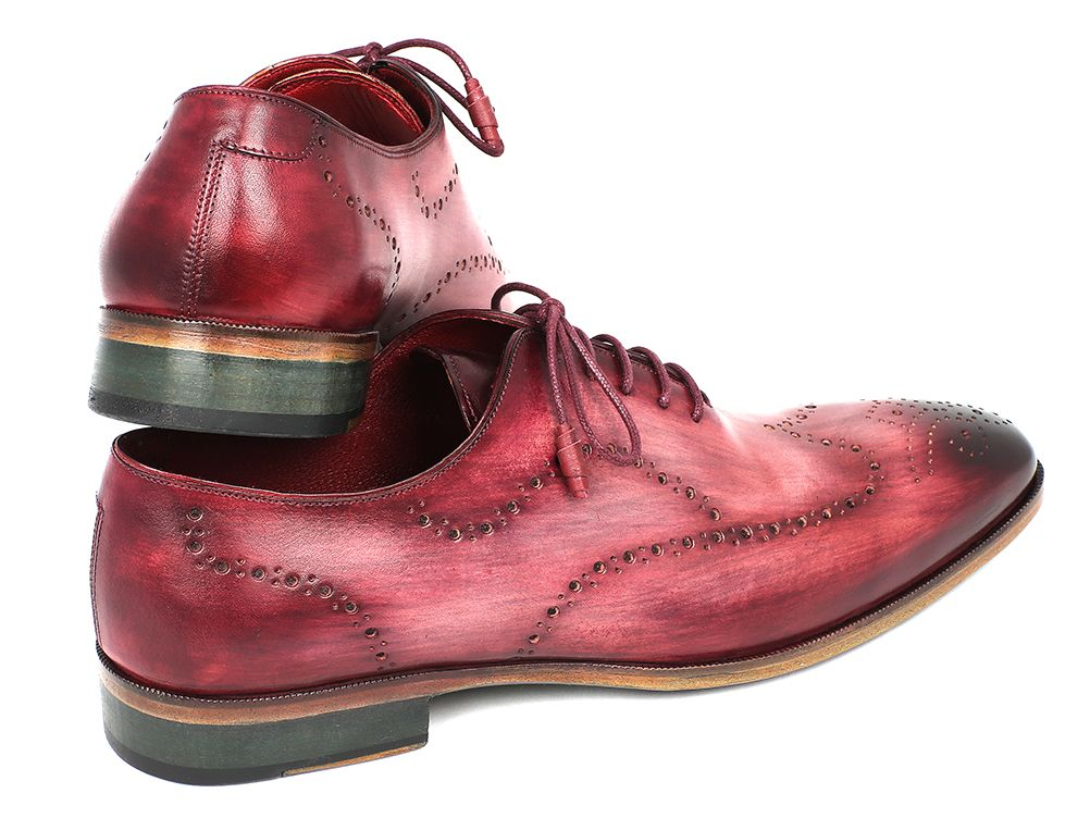 Paul Parkman Wintip Oxfords Burgundy Handpainted Calfskin (ID#741-BUR) - mroutfit