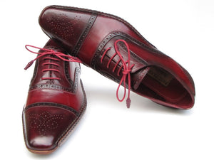 Paul Parkman Men's Side Handsewn Captoe Oxfords - Red / Bordeaux  (ID#5032-BRD) - mroutfit