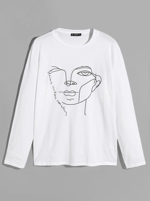 Drop Shoulder Figure Print Tee - mroutfit
