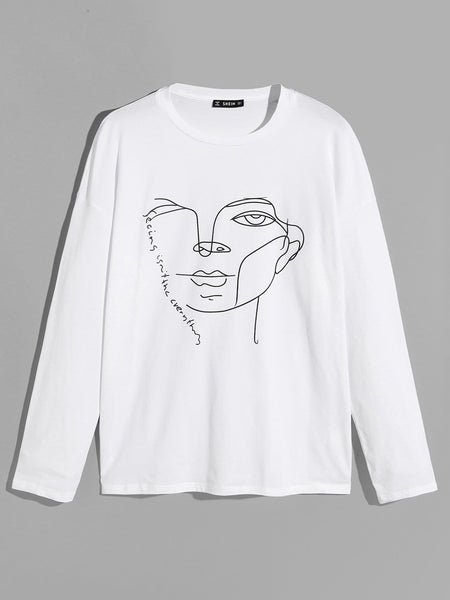 Drop Shoulder Figure Print Tee