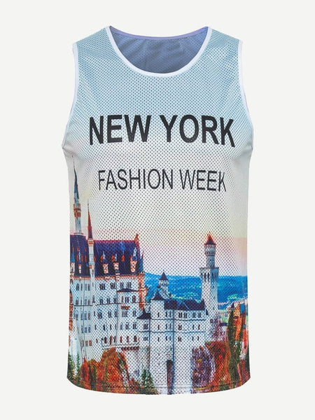NY Letter Print Tank Top