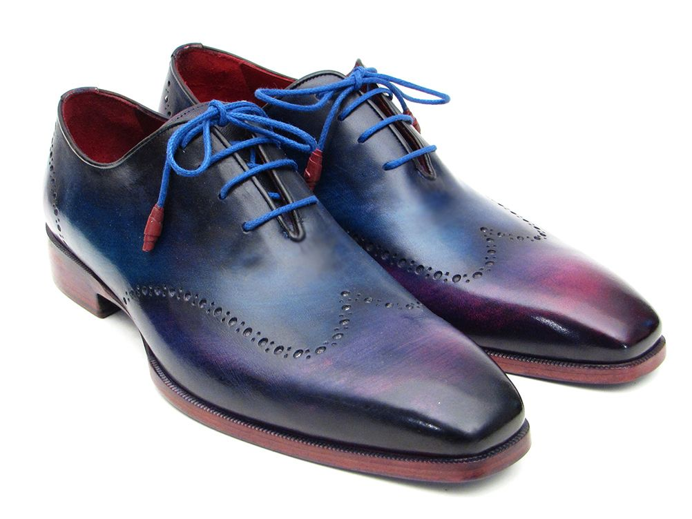Paul Parkman Men's Blue & Purple Wingtip Oxfords (ID#084VX55) - mroutfit