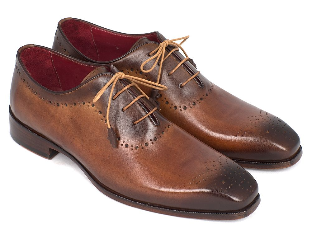 Paul Parkman Men's Brown & Camel Medallion Toe Oxfords (ID#GF61AZ) - mroutfit