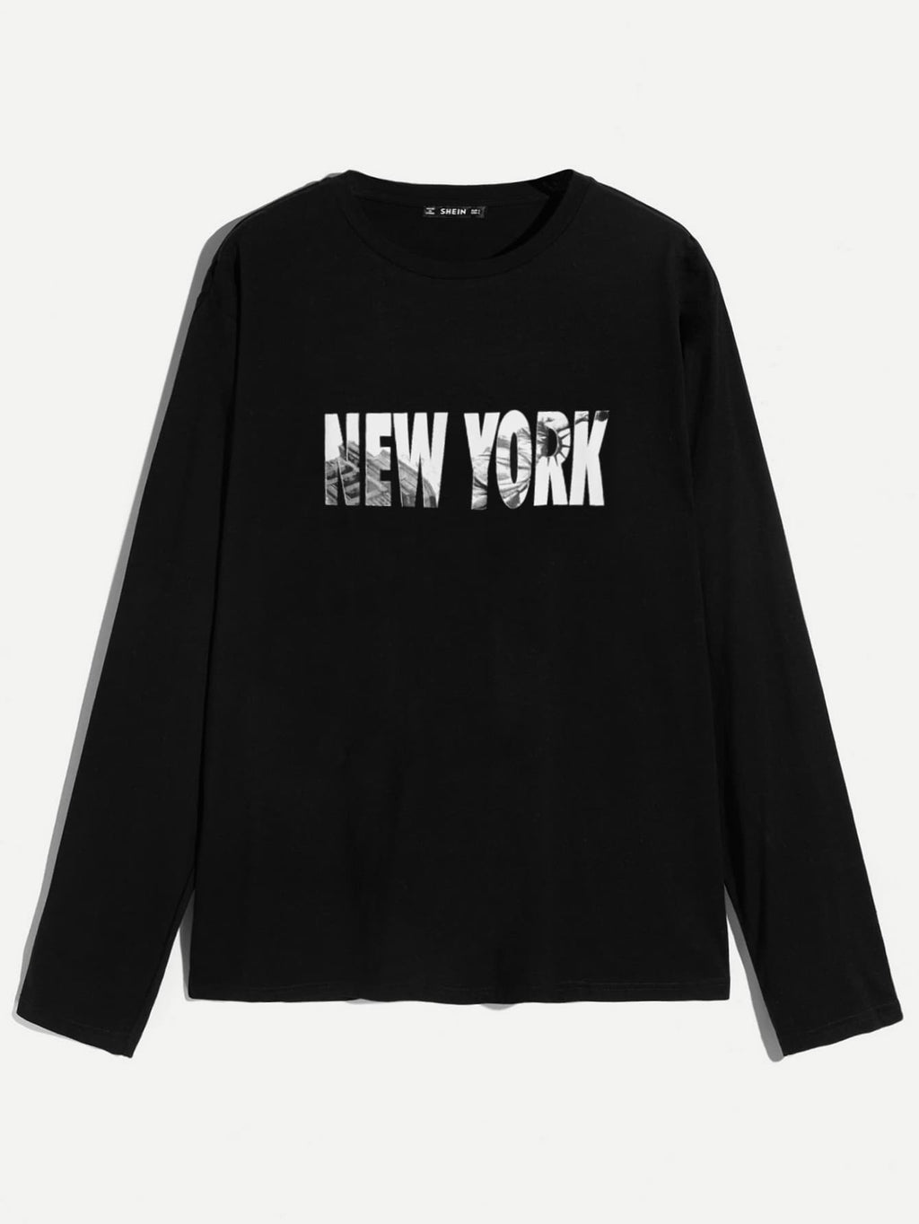 NY Letter Print, long-sleeved Tee - mroutfit