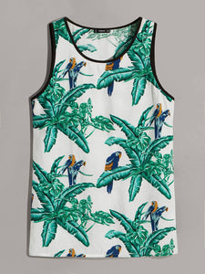 Men Jungle & Parrot Print Ringer Tank Top - mroutfit