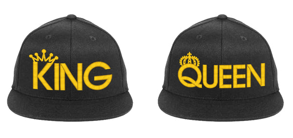 King & Queen Baseball Hat, Snapback-Black