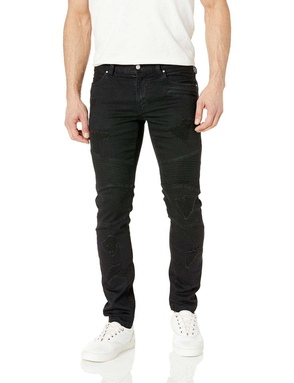 A|X Armani Exchange Men's Solid Colored Ripped Denim Pants, Black, 32 - mroutfit