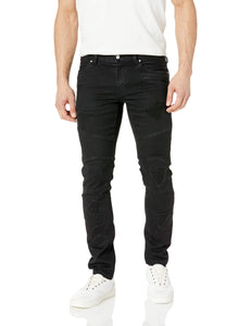 A|X Armani Exchange Men's Solid Colored Ripped Denim Pants, Black, 32