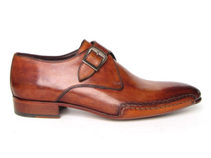 Paul Parkman Men's Monkstrap Shoes Side Handsewn Twisted Leather Sole Tobacco (ID#24Y56) - mroutfit