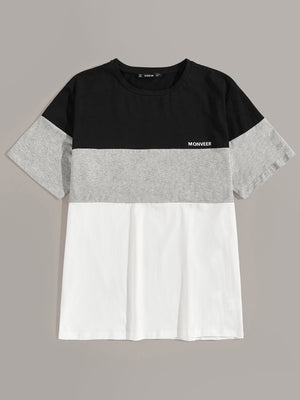 Front Color Block Tee - mroutfit