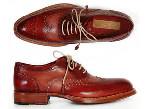 Paul Parkman Men's Wingtip Oxfords Bordeaux & Camel (ID#027B) - mroutfit