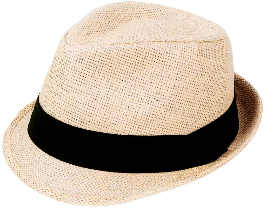 Livingston Unisex Summer Straw Structured Fedora Hat w/Cloth Band, Natural,L/XL - mroutfit
