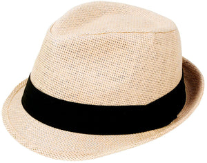 Livingston Unisex Summer Straw Structured Fedora Hat w/Cloth Band, Natural,L/XL