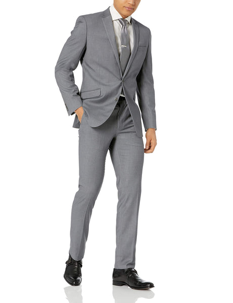 Kenneth Cole REACTION Men's Stretch Slim Fit Suit, Gray Solid, 42L
