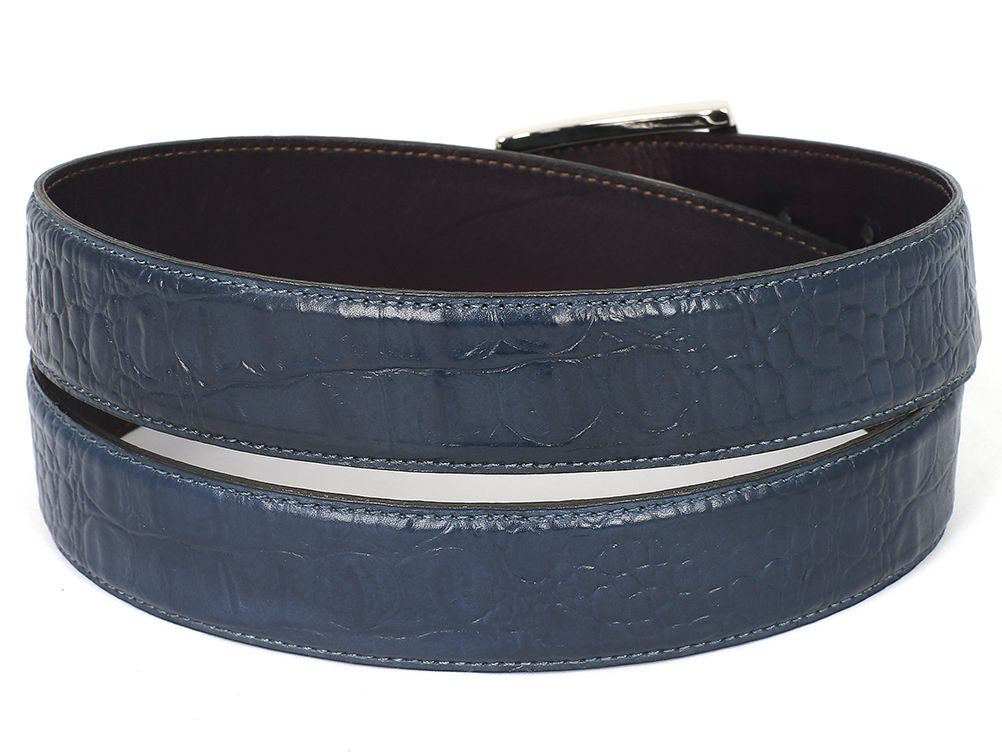 PAUL PARKMAN Men's Crocodile Embossed Calfskin Leather Belt Hand-Painted Navy (ID#B02-NVY) - mroutfit