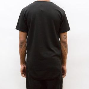 SEAMED SCALLOP TEE- BLACK - mroutfit