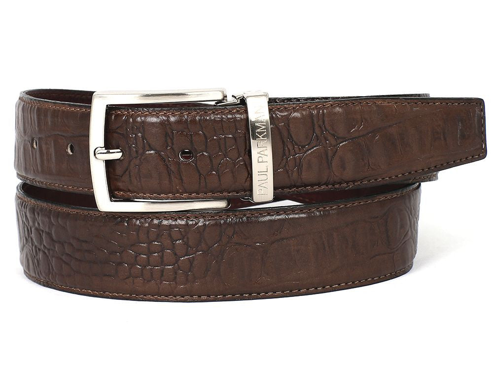 PAUL PARKMAN Men's Crocodile Embossed Calfskin Leather Belt Hand-Painted Brown (ID#B02-BRW) - mroutfit
