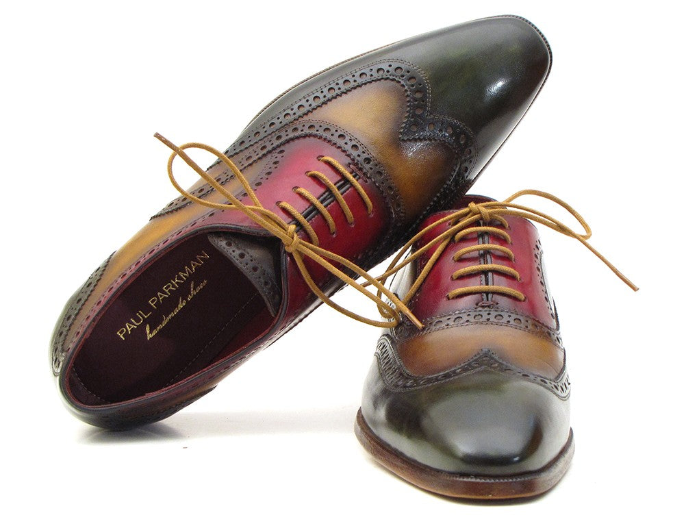 Paul Parkman Men's Three Tone Wingtip Oxfords (ID#PP22F75) - mroutfit