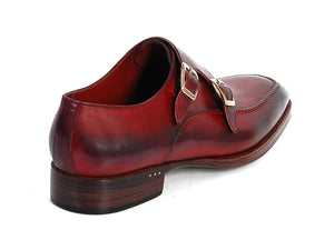 Paul Parkman Men's Double Monkstrap Shoes Black & Bordeaux (ID#PP3851) - mroutfit