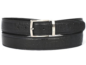 PAUL PARKMAN Men's Crocodile Embossed Calfskin Leather Belt Hand-Painted Black (ID#B02-BLK) - mroutfit