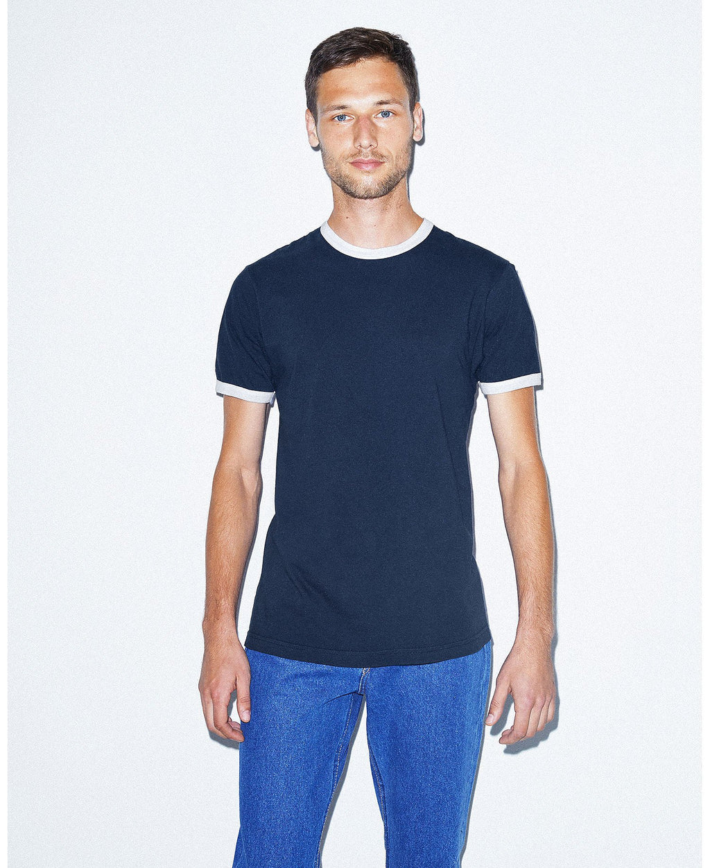 American Apparel Unisex Fine Jersey Ringer Tee