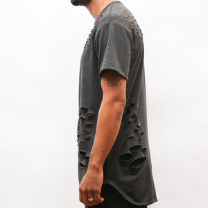 DISTRESSED SCALLOP TEE- GREY - mroutfit