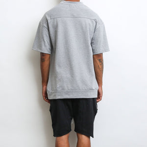 REVERSE FRENCH TERRY TEE- GREY - mroutfit
