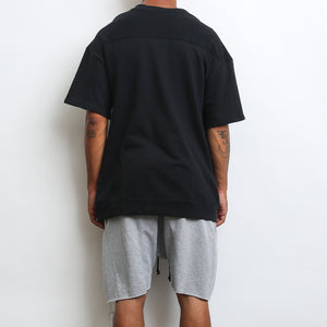 REVERSE FRENCH TERRY TEE- BLACK - mroutfit