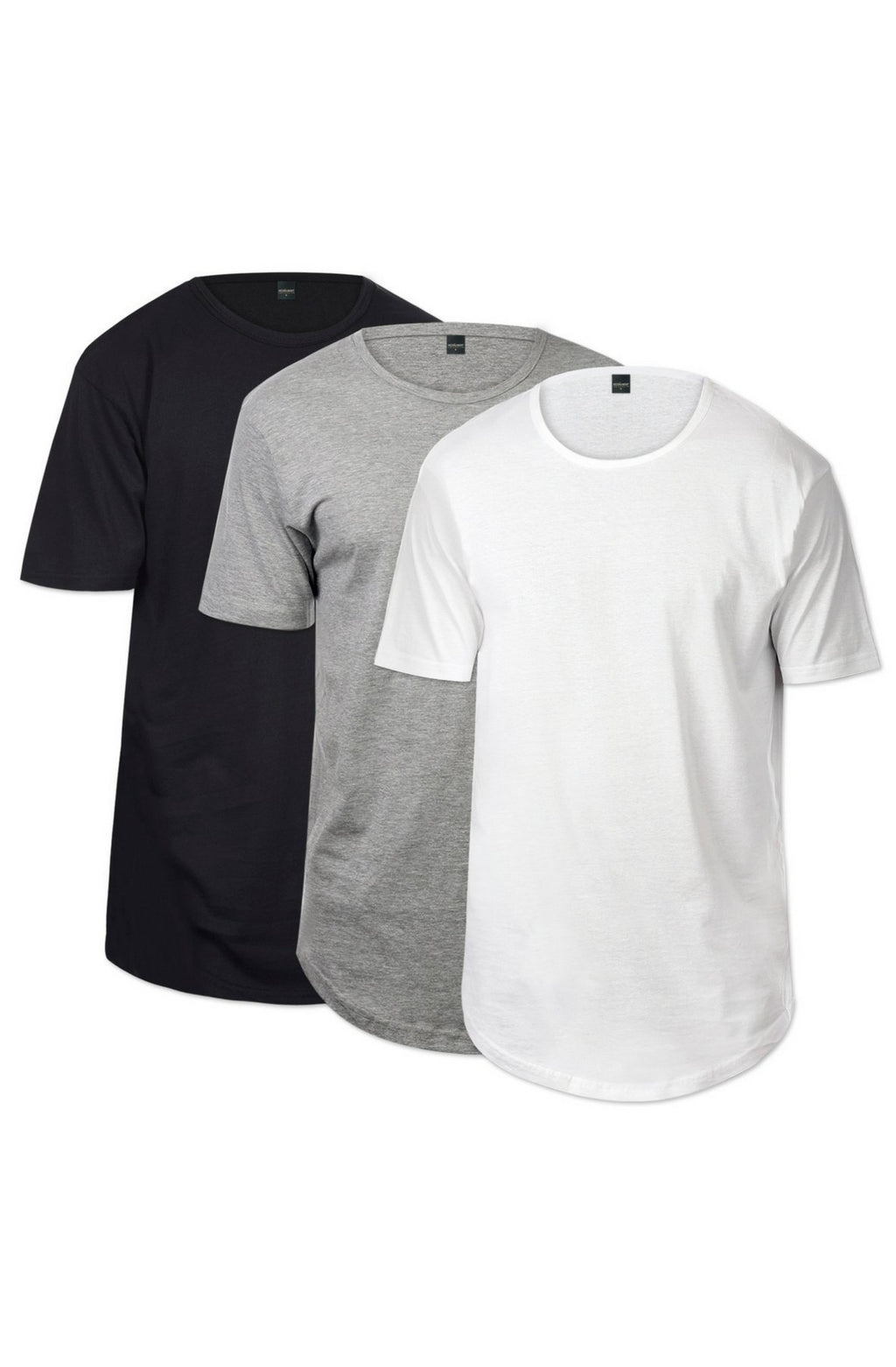 CB Tall Scallop Bottom Tee 3 Pack (Black & Heather - mroutfit