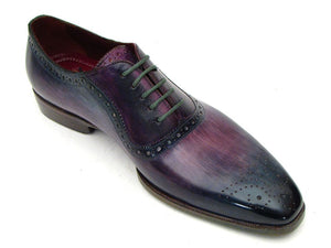 Paul Parkman Men's Purple & Navy Medallion Toe Oxfords (ID#PR88TT) - mroutfit