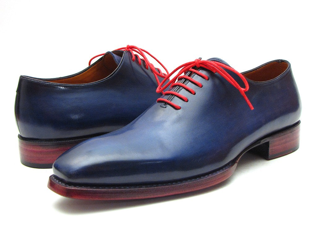 Paul Parkman Men's Goodyear Welted Wholecut Oxfords Navy Blue  (ID#044CR) - mroutfit