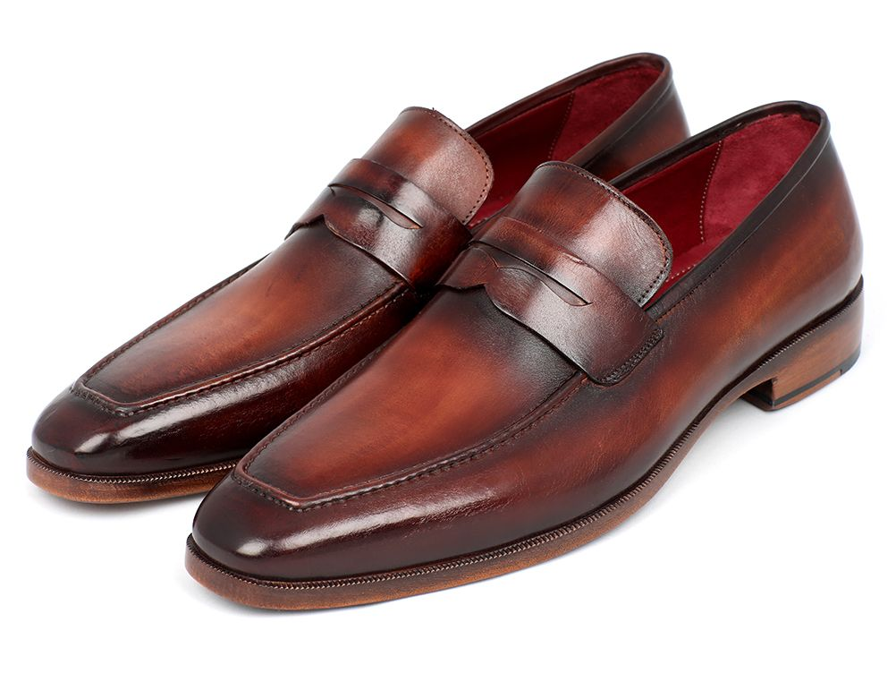 Paul Parkman Men's Penny Loafer Bordeaux and Brown Calfskin (ID#10FD61) - mroutfit