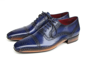 Paul Parkman Men's Captoe Navy Blue Oxfords (ID#5032-NAVY) - mroutfit