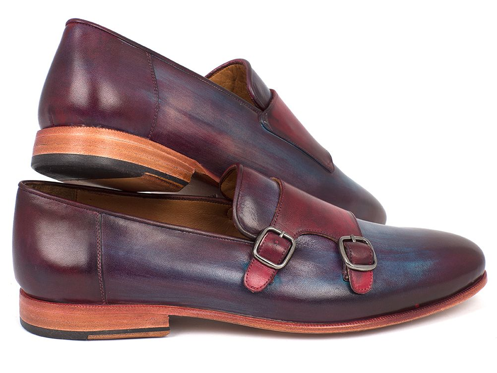 Paul Parkman Men's Bordeaux & Navy Double Monkstrap Shoes (ID#HR65CX) - mroutfit