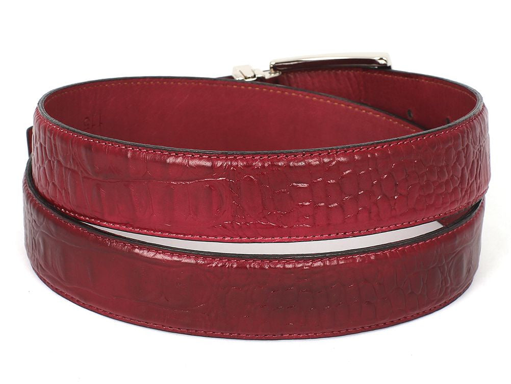 PAUL PARKMAN Men's Croc Embossed Calfskin Belt Burgundy (ID#B02-BUR) - mroutfit