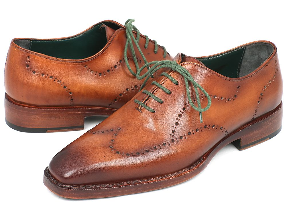 Paul Parkman Men's Wingtip Oxford Goodyear Welted Camel Brown (ID#87CML66) - mroutfit