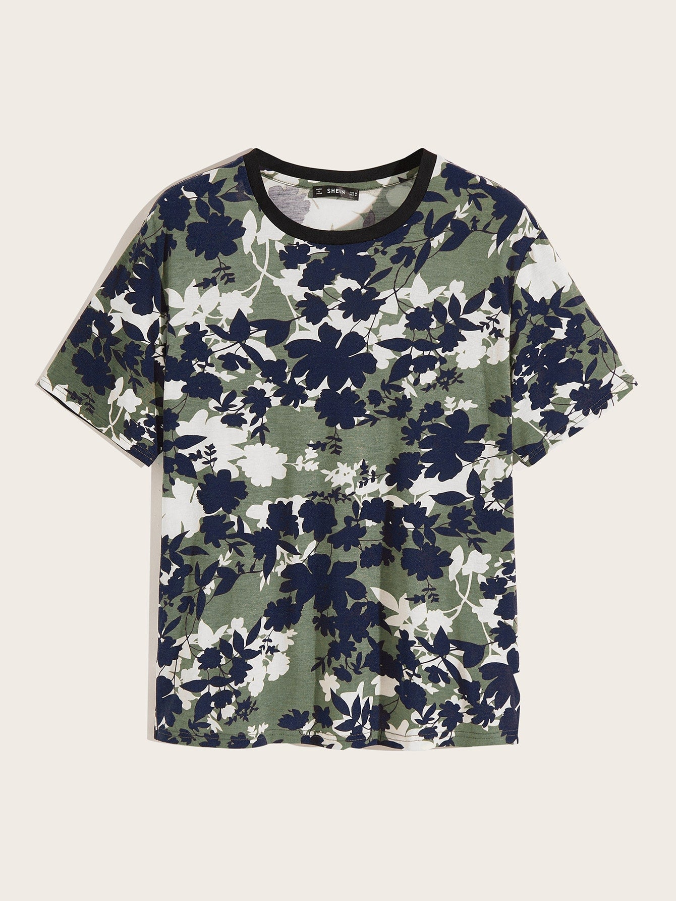 Men Two Tone Floral Print Tee - mroutfit