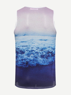 Queens Letter & Wave Print Tank Top - mroutfit