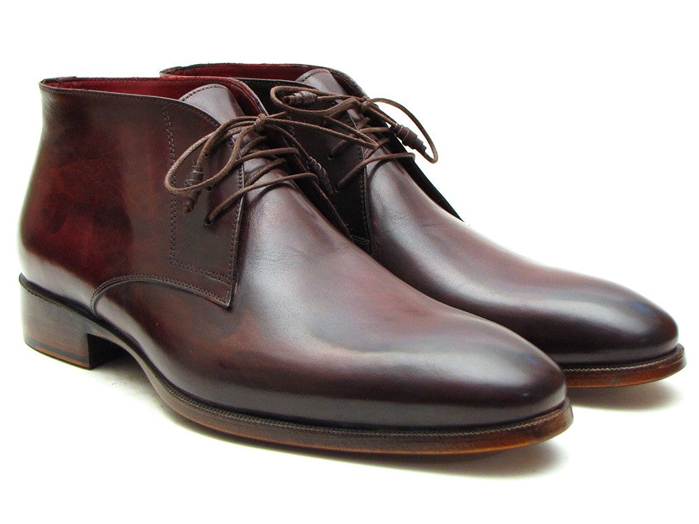 Paul Parkman Men's Chukka Boots Brown & Bordeaux (ID#CK43E8) - mroutfit