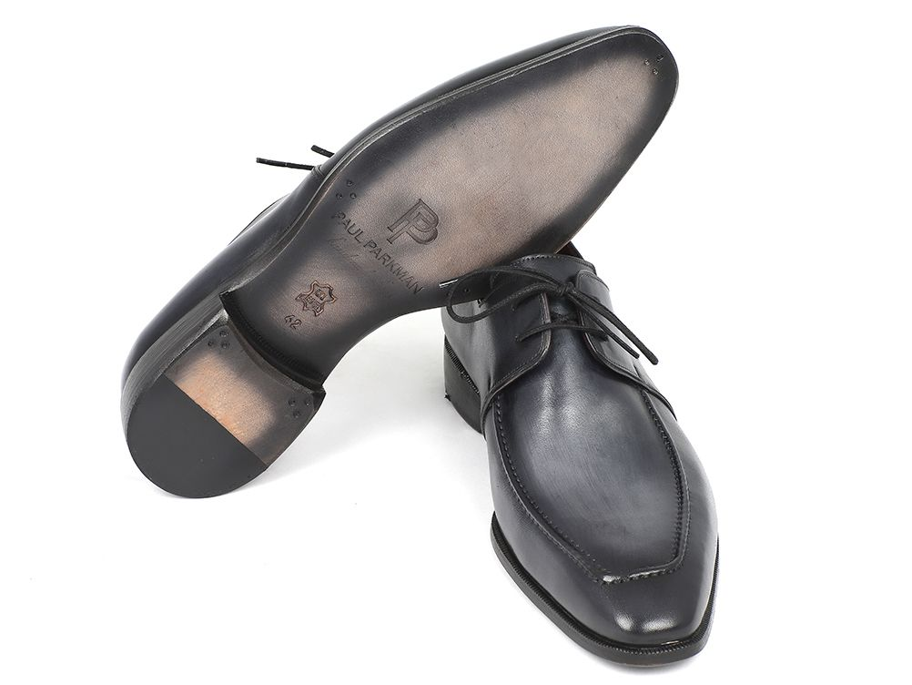Paul Parkman Gray & Black Apron Derby Shoes For Men (ID#13SX51) - mroutfit
