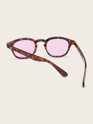 Tortoiseshell Studded Decor Sunglasses - mroutfit